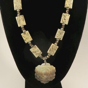Necklace of Jasper/Carved Shell and Glass Necklace